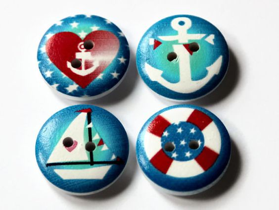 12 Nautical Buttons 20mm - Round Painted - White Wood - Boys Button - Kids Buttons - Sailing Print - Anchor Ship Boat - Beach Button - PW110