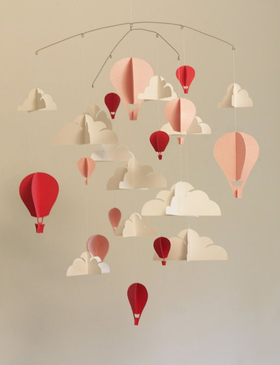 Customized Hot Air Balloon Paper Mobile L Baby Mobiles