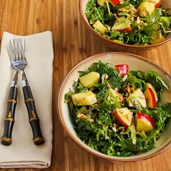 Raw Baby Kale Salad with Apples, Sunflower Seeds, and Lemon-Dijon Vinaigrette
