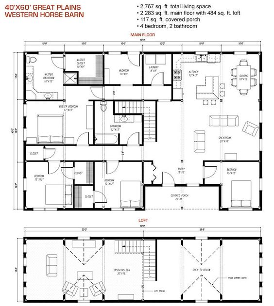 40x60 floor plan pre designed great plains western horse for Gambrel pole barn plans