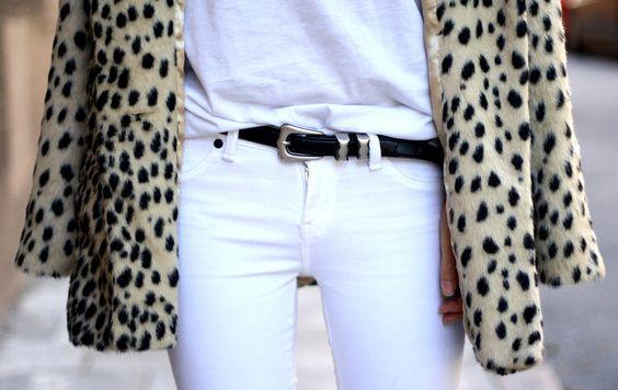 leopard print coat + white jeans