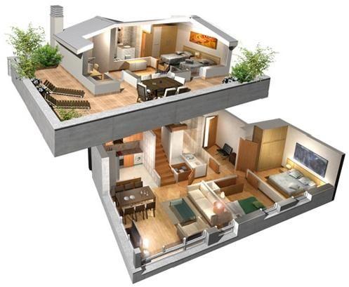 planos de casas de dos pisos en 3d modernas