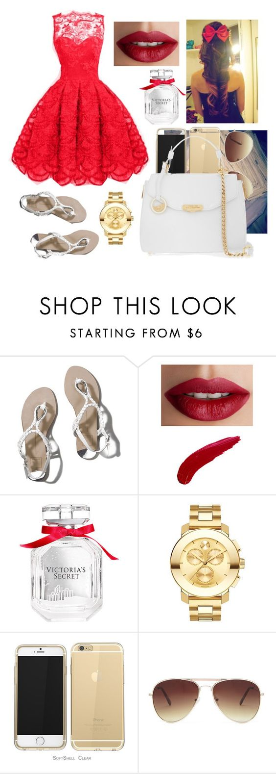 """""""Christmas party! collab with @fashiongirlnat11"""" by lovermonster ❤ liked on Polyvore featuring Abercrombie & Fitch, TheBalm, Victoria's Secret, Movado, Forever 21, Versace, women's clothing, women, female and woman"""
