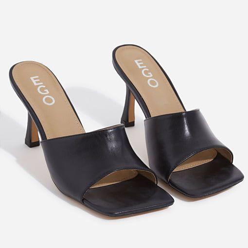 Hilton Square Peep Toe Kitten Heel Mule In Black Faux Leather In