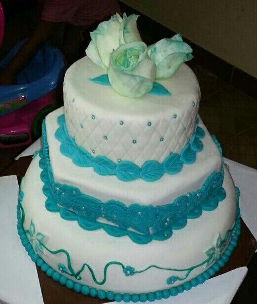 Torta de bodas turquesa