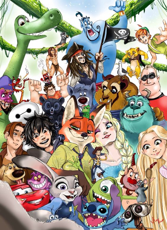 This is so cool they! They managed to get almost every animated Disney and Pixar movie in this art work