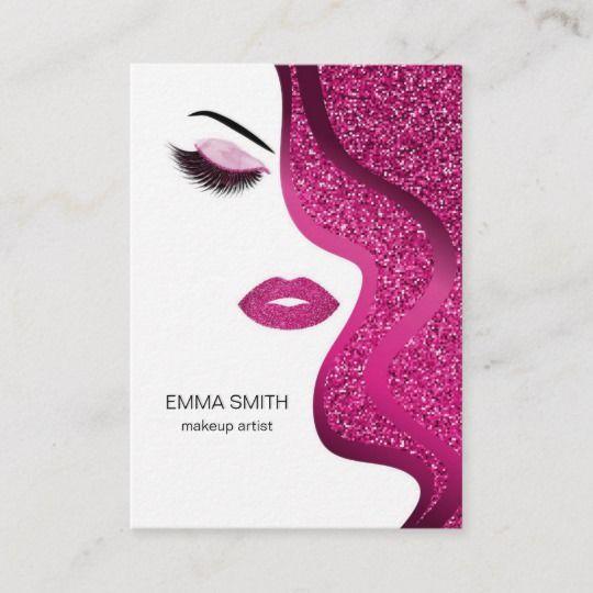 Makeup Artist Beauty Salon Dark Pink Glitter Business Card Zazzle Com Glitter Business Cards Makeup Artist Business Cards Beauty Salon Business Cards
