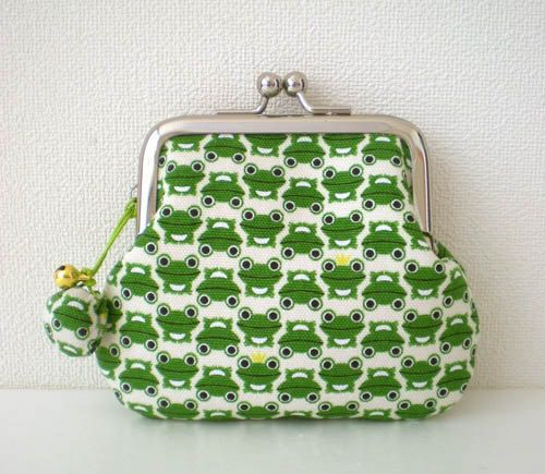 Coin Purse with a little shell bell Frogs green by tagodesign, $16.90: