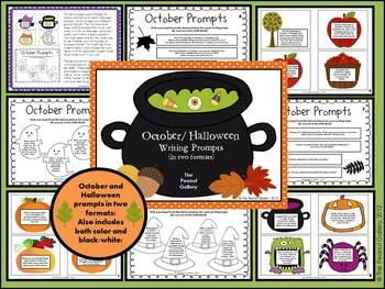Forty October and Halloween Writing Prompts (20 of each) in two fun formats! $5.00