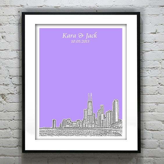 Chicago Wedding Guest Book Guestbook Personalized Gift Poster Print ...