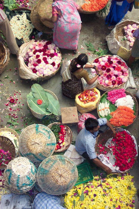 Bangalore flower market, India.