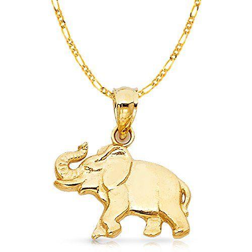 14k Yellow Gold Elephant Charm Pendant With 2 3mm Figaro 3 1 Chain Necklace 18 Gold Elephant 14k Gold Necklace Chain Elephant Charm