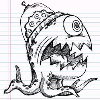 Notebook Monstre Alien Doodle Sketch Dessin Illustration Art photo