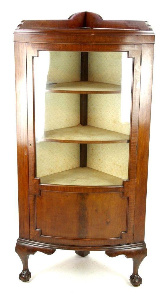 Antique Mahogany Corner Cabinet Bow Front Cabinet Curio Cabinet