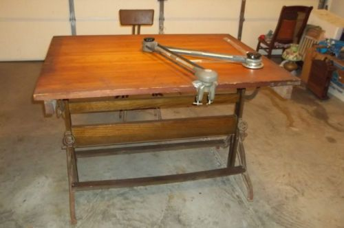 1920's DIETZGEN ADJUSTABLE FACTORY DRAFTING TABLE & DRAFTING ARM