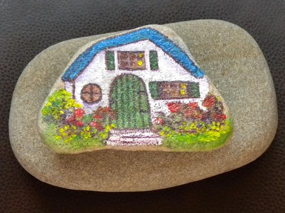 #painted #rock #pretty little #Cottage #forsale in #etsy #pamelajonesartstudio #pamelajonespaintings #pamelajonesart #picoftheday #artwork #picoftheday #pictureoftheday #actylic #painting #art #pebbleartwork