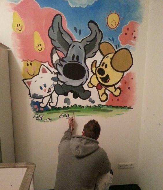 woezel en pip muurschildering van bert ruesink art voor de, Deco ideeën
