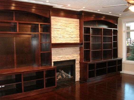 Custom full wall unit with accented fireplace moda for Full wall kitchen units
