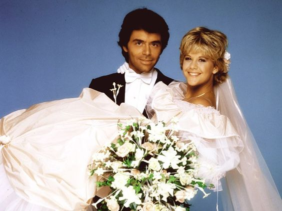 Meg Ryan  as Betsy Stewart Andropoulos on As the World Turns, from 1982-1984. Betsy's touching 1984 wedding to Steve Andropoulos (Frank Runyeon, pictured) reaped the second-highest ratings in soap history!