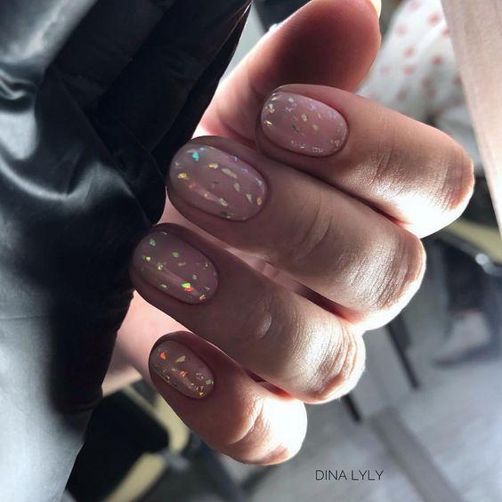 Дизайн ногтей 2019 маникюр нежный с блестками