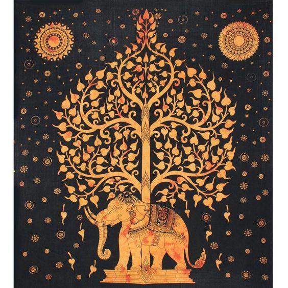 Tenture indienne motif l phant et arbre de vie tenture for Decoration murale arbre de vie