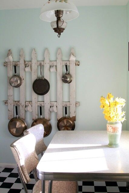 Old picket fence for a pot rack...shabby chic