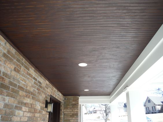 Close Up Of The Stained Wood Custom Porch Ceiling