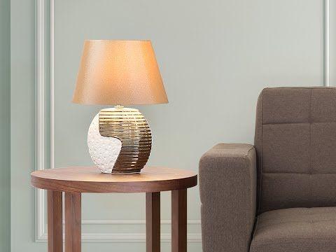Lampada Da Tavolo In Colore Beige Rame Esla Beliani It Lamp Modern Desk Lamp Bedside Lamp