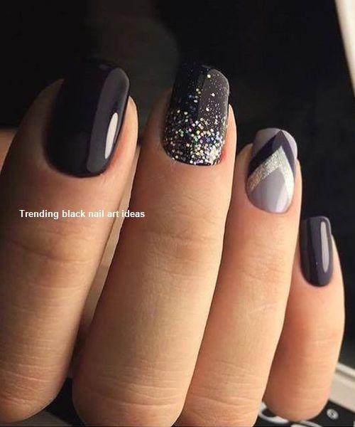 20 Simple Black Nail Art Design Ideas Blacknails Galaxy Nail Art Wedding Nail Art Design Black Nail Art