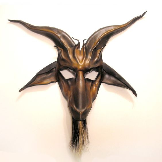 Baphomet Leather Mask with Horsehair Beard. $225.00, via Etsy.