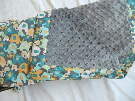 Elephant splash baby blanket  with charcoal by lauriesladybug, $29.50