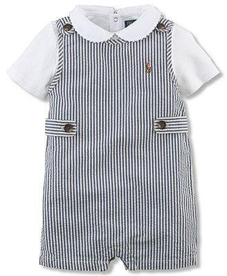 Ralph Lauren Baby Boys  2-Piece Seersucker Shortall   Bodysuit Set 328add1224d