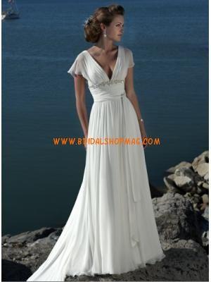 Elegant Butterfly Sleeves V-Neck Chiffon Casual Wedding Dress ...