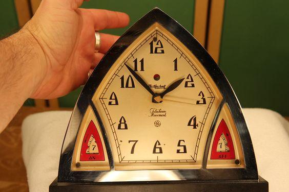 Kitchen Wall Clocks   zSOLD 1930's xxx ART DECO telechron HOTPOINT TM~8 range timer CLOCK