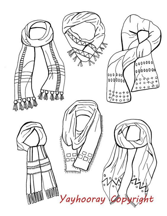 Line Art Etsy : A line drawing illustration called scarves by yayhooray on