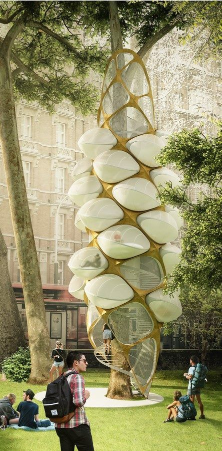 """Called """"Tree Hopper"""", the winning project of the Triumph Architectural Treehouse Award presents mixed structure - built around a tree. Through a spiral staircase, visitors can access the comfortable accommodations, that look with a bee cocoon, composing a futuristic design proposal."""
