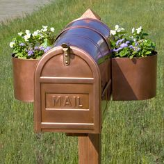 """The gardener will love to great passerbys with new arrangements each season. This planter easily removes for winter months.     Copper Mailbox Planter    <a href=""""http://www.signaturehardware.com/product17866"""" rel=""""nofollow"""" target=""""_blank"""">www.signaturehard...</a>"""