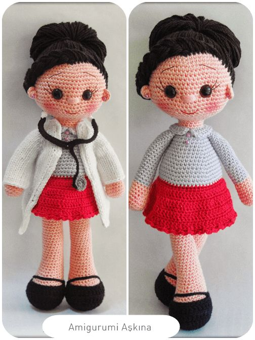 Crochet Mini Doll Pattern : Amigurumi Bayan Doktor - Amigurumi Doctor Tiny Mini ...