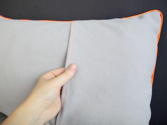 Tuto - oreiller porte-feuille avec passepoil