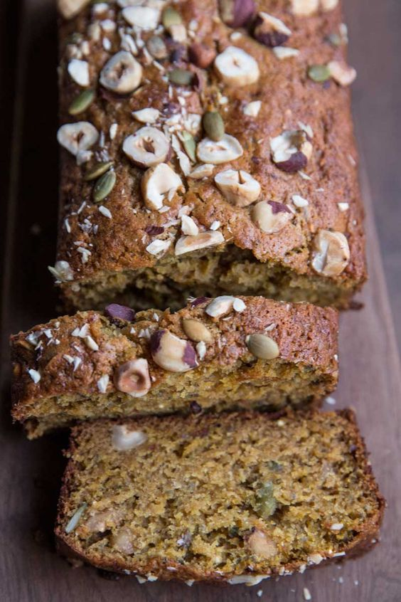 acorn squash bread recipe with seeds and nuts •theVintageMixer.com #bread