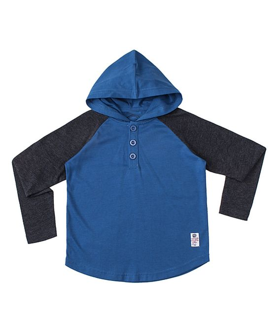Something Strong Blue & Charcoal Contrast Hoodie - Toddler & Boys by Something Strong #zulily #zulilyfinds