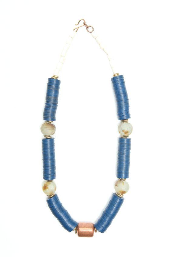 clark necklace large amber swirl bottleglass, royal blue vinyl and hammered brass with vintage brass centerpiece