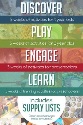 Weekly Activity Plans. Includes 20 printable weeks of fun activities planned out for all the early years! Each weekly plan includes a handy supply list and activities broken down to know exactly what to do in a simple sentence or two.