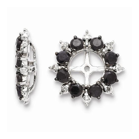 Sterling Silver Diamond & Black Sapphire Earring Jacket