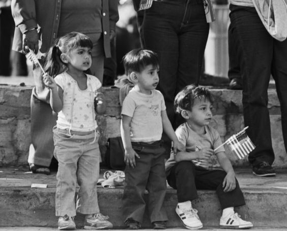 Young spectators at Veteran's Day Parade, 1983.