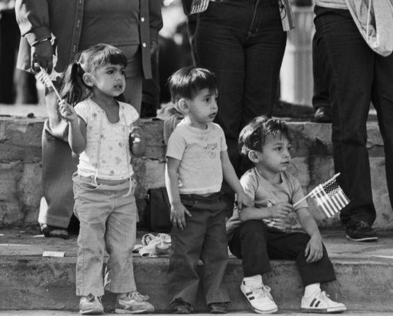 Young spectators at Veteran's Day Parade, 1983.
