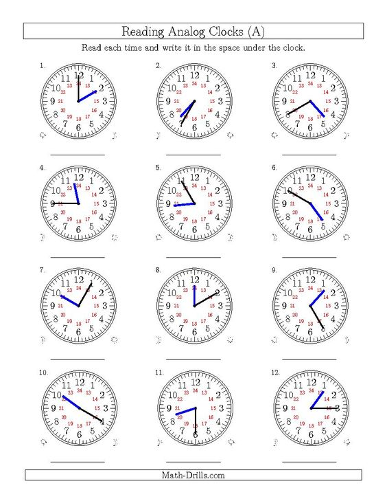New 2015-04-02! Reading Time on 24 Hour Analog Clocks in 5 Minute ...