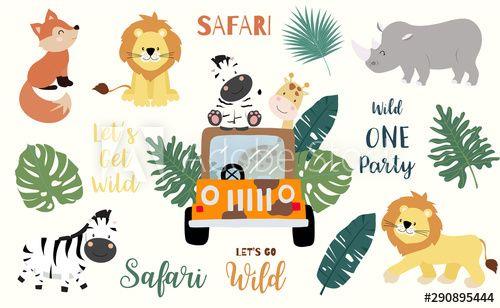 Safari Object Set With Fox Giraffe Zebra Lion Leaves Car Illustration For Logo Sticker Postcard Birthday Invitation Edit In 2021 Safari Cute Wild Animals Logo Sticker