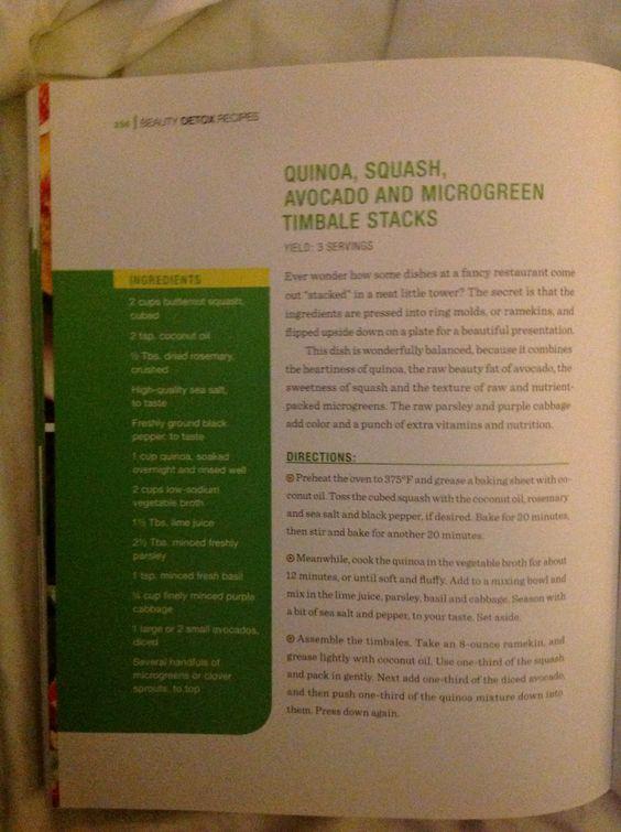 Quinua Squash, Avocado and Microgreen Timbale Sticks