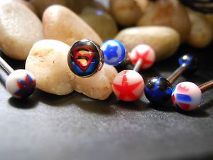 Tongue Ring Lot. Superman and accessories!  This is the actual set you will receive. . Set includes all you see in photos.  All brand new and packaged individually   14g 316L Surgical Steel. Acrylic accents. * Body Jewelry is not returnable. But you are eBay buyer protected:)